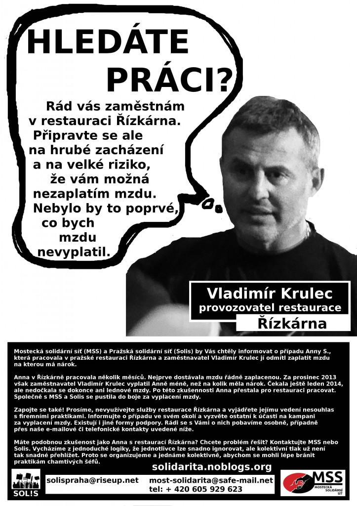 hledáte práci_Vladimír Krulec_restaurace Řízkárna
