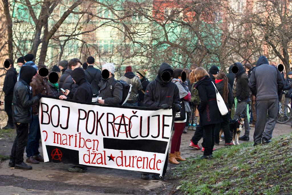 Demonstrace proti vyklizení Kliniky